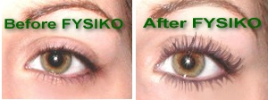 Fysiko eyelash growth serum before and after