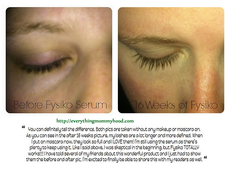 fysiko eyelash serum before and after